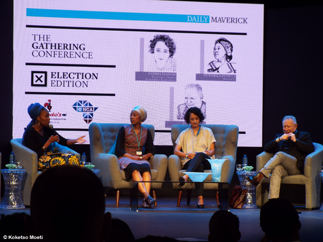 Sisonke Msimang moderating a panel made up of, Vuyiseka Dubula from Sonke Gender Justice; Fatima Hassan from Open Society Foundation and David Lewis from Corruption Watch.