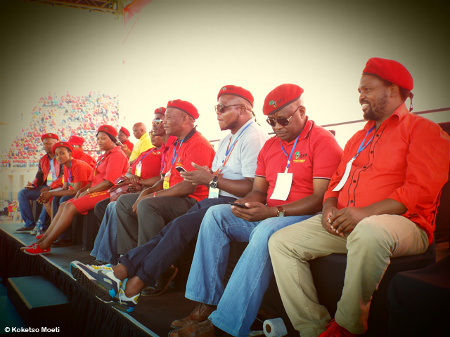 Members of EFF's Central Command Team onstage.