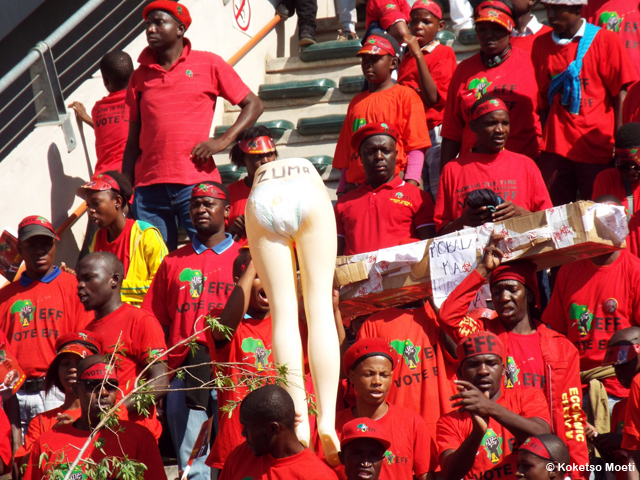 The bottom half of a mannequin in a diaper, written Zuma, as seen at EFF's Tshela Thupa rally.