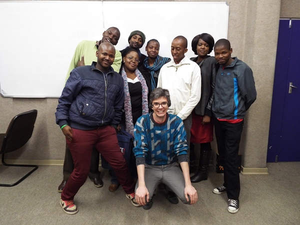Members of the Activate! Change Drivers network, with amandla.mobi campaigners, following a campaign planning session. Photo: Koketso Moeti